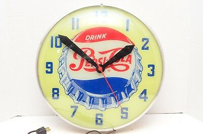 Vtg Swihart Pepsi-Cola Advertising Light Clock Dome Glass Bottle Cap Logo Works
