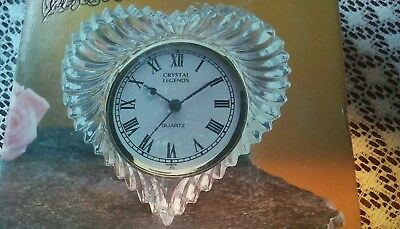 New crystal legends by godinger radiant heart clock great valantines gift no res