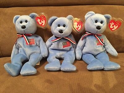 """Three Vintage Ty Beanie Babies """"America"""" Bear New with Tags"""