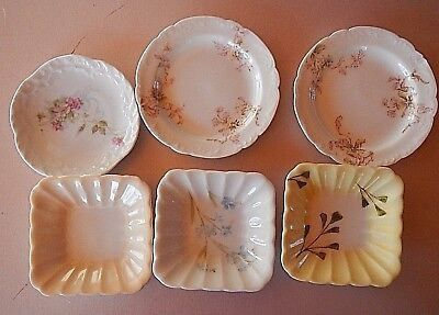6 antique butter pats in different patterns