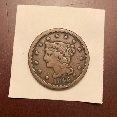 1846 Braided Hair Large Cent- 173 Years Old