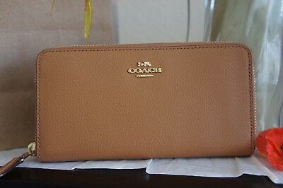 NWT Coach F16612  Pebble Leather Accordion Zip Wallet Saddle $250