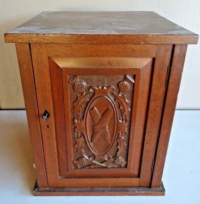 1890's Oak Art Nouveau Carved Smoker'S Tobacco Cabinet High Society Club Detroit