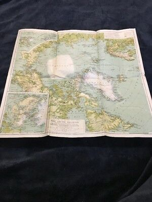 "Original NATIONAL GEOGRAPHIC MAP: 1925 THE ARTIC REGIONS 19 x 20"" torn on folds"