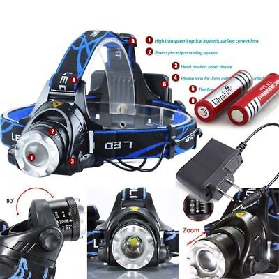 20000Lumen T6 LED Zoomable Headlamp Rechargeable 18650 Headlight Flashlight USA