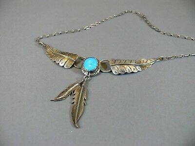 Estate Signed Native American Sterling Silver Turquoise Feather Pendant Necklace