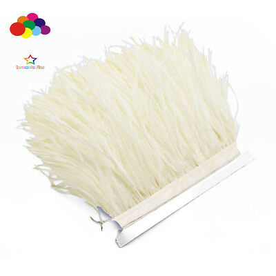 Hot 1/5/10 meter creamy-white Ostrich Feathers 8-15cm/3-6inch Fringe Ribbon Trim
