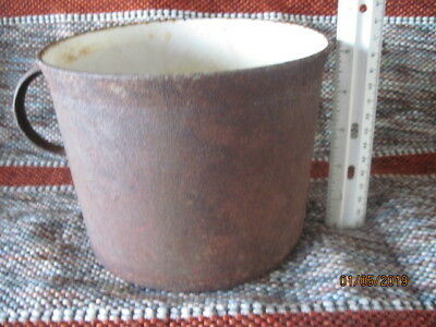 Antique Original Cast Iron Pot with Porcelain Interior European. Gate Marked
