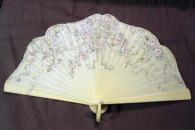 Art Deco Celluloid Hand Fan W/ Hand Painted Roses & Gilding + Serpentine Edge