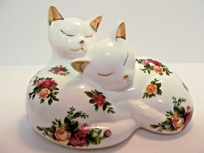 Royal Albert Old Country Roses Cats Sleeping Figurine Paperweight Bone China