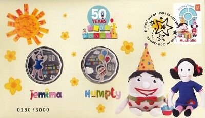 PNC Australia 2016 Play School 50 Years Jemima & Humpty 2 X RAM 50c Colour Coins