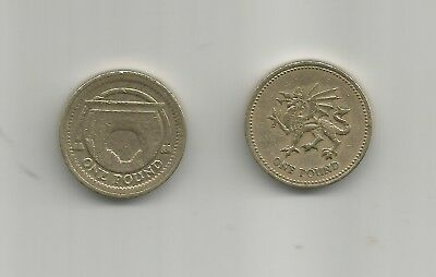 One Pound Coins By Two 2006 2000 Welsh Dragon  And Arch Railway Bridge
