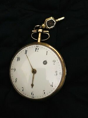 Large 18K Gold Coliau Paris Verge Fusee Pocket Watch Late 1700s or Early 1800s