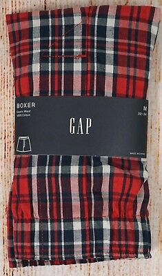 NIP Mens GAP Boxers 100% Cotton Elastic Waist Red White and Blue Plaid - 982092