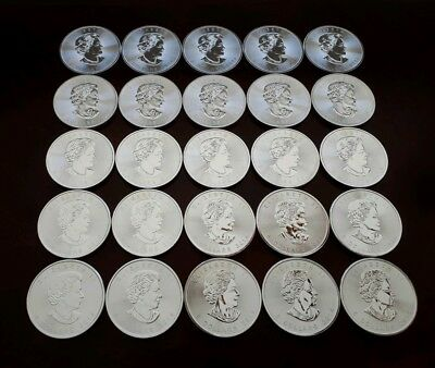 1 Tube of 25 Canadian Silver Maple Leaf Coins (2014) -.9999 Pure Silver (1 of 2)