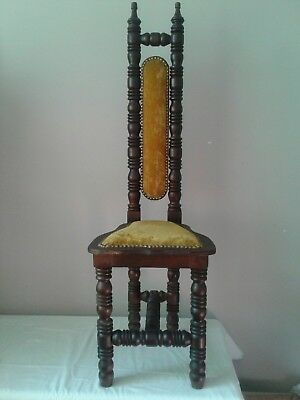 "Vintage Jacobean Style High Back Spanish Hall Chair ""Prayer Chair"""