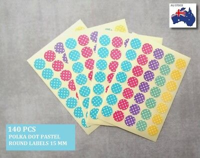 140 Pcs Round Pastel Polka Dot Stickers Circle Dots Spots Colour Medium 15 mm