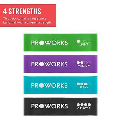 Proworks Resistance Bands Set Of 4 Heavy Duty Gym Fitness Yoga Exercise Training