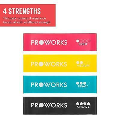 Proworks Resistance Bands Set Of 4 Heavy Duty Band Exercise Fitness Yoga Gym