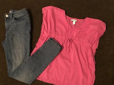 Old Navy Girls Outfit Shirt Top And Jeans Set Size 8
