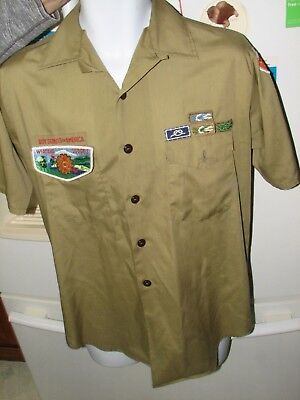 Boy scouts of america men's small uniform shirt many patches vintage old OC