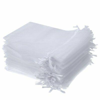 50 100 White Organza Sheer Gift Bags Jewellery Pouch Wedding Jeweler Candy Party