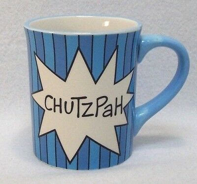 398886fd77a Our Name Is Mud Lorrie Veasey Hand Painted CHUTZPAH Coffee Mug Blue Purple  16 OZ