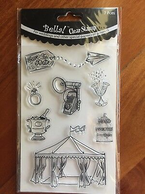 Bella! Clear Stamps 7pc Wedding Save The Date Champagne Ring Camera Tent
