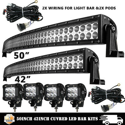 50Inch + 42Inch Curved LED Light Bar + 4x CREE PODS OFFROAD SUV 4WD VS 52/30/20