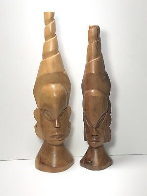 Vintage Tribal Wood Carved African Native Head Statues.