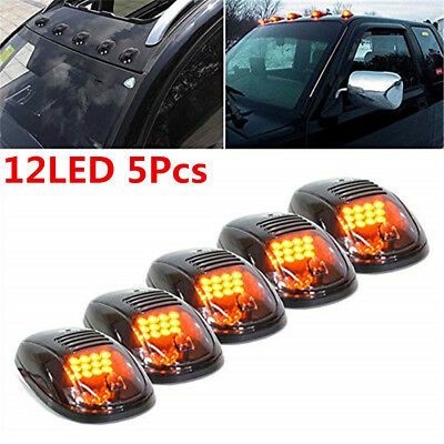 5X Cab Lights Smoked Amber Running Marker Parking Roof Top LED Truck 4x4 Pickup
