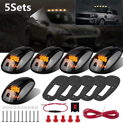 5X Amber Cab Roof Marker Top Running 12LED Smoked Shell Cab Lights for Dodge Ram