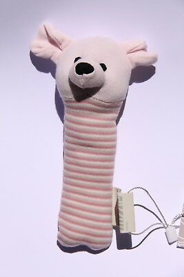 Mizzle Mouse Squeaky Rattle Toy Pink Stripe Baby Gift *Brand New*