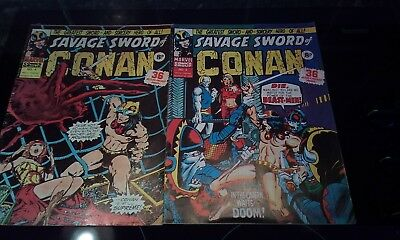 The Savage Sword Of Conan Nos  2 & 4 March 1975, Marvel  Comics.
