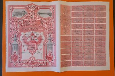 Russian Bond Tramways D Astrakhan Action Privilegiee 100 Francs 1896 + Coupons