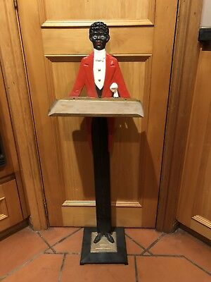 Antique Painted Iron 94cm Tall African Butler Waiter Card Smoke Stand