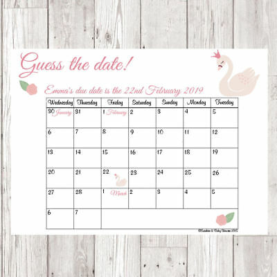 Personalised Baby Swan Guess the Baby's Due Date & Weight Baby Shower Game