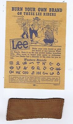 Lee Riders leather strip western cattle brand advertising jeans