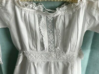 Antique Needlework Baby'S Long Nightgown Batiste / Lawn, Hand-Embroidered Lace