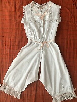 Vict. Combinations / All-In-One Camisole-Split Drawers, Bobbin Lace, Pintucks