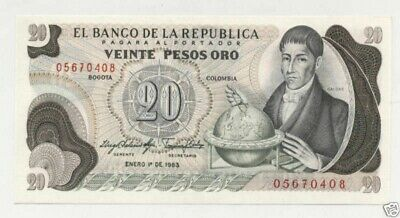 Colombia 20 Pesos 1-1-1983  Pick 409.d UNC Uncirculated Banknote