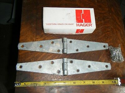 """2 Hinges 5"""" Strap Heavy Duty Zinc Plated Barn Gate 10"""" overall new AMERICAN MADE"""