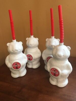 New 4 Lot Coca Cola Plastic Polar Bear Cub Cup Sippy Straw Drink