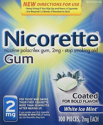 Nicorette Gum Stop Smoking Aid Coated 2 mg White Ice Mint 100 Pieces