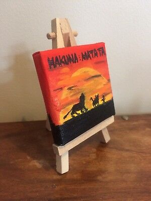 Hand Painted Disney LION KING Mini Canvas And Easel 7cm x 7cm