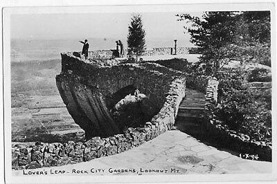 Lovers Leap Rock City Gardens Chattanooga Tn RPPC Real Photo Vintage Postcard