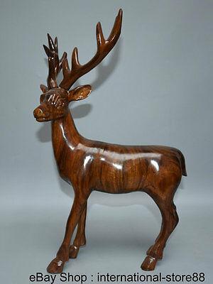 """19"""" Chinese Redwood Carving Feng Shui Stand Christmas Deer Longevity Sculpture"""
