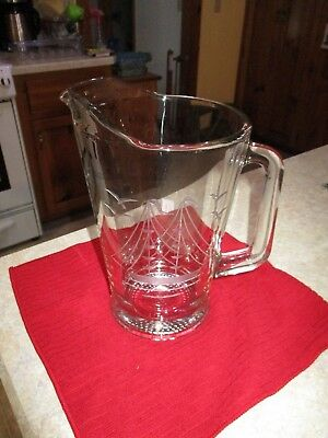 Large Glass Clipper Ship Etched Cut Glass Pitcher, 56 ounces EUC!