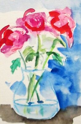 Aceo vase roses floral still life miniature collectible watercolor art Delilah