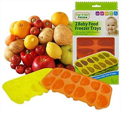 Set of 2 Baby Food Freezer Trays & Lids Weaning Freezing Cubes Pots 24 Portions